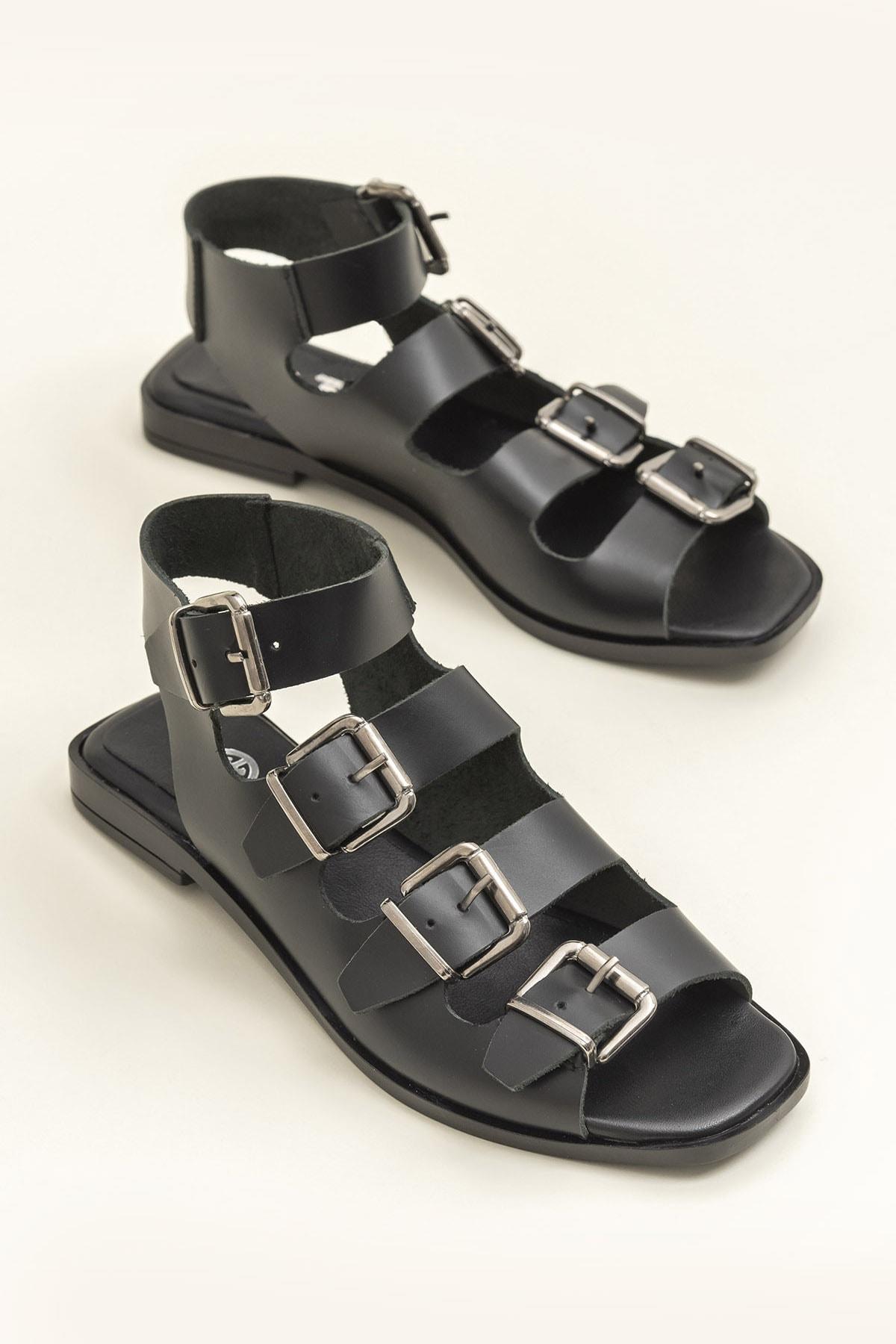Elle Shoes Hakiki Deri Rahel Siyah Kadın  Sandalet 20YEK3143754 1