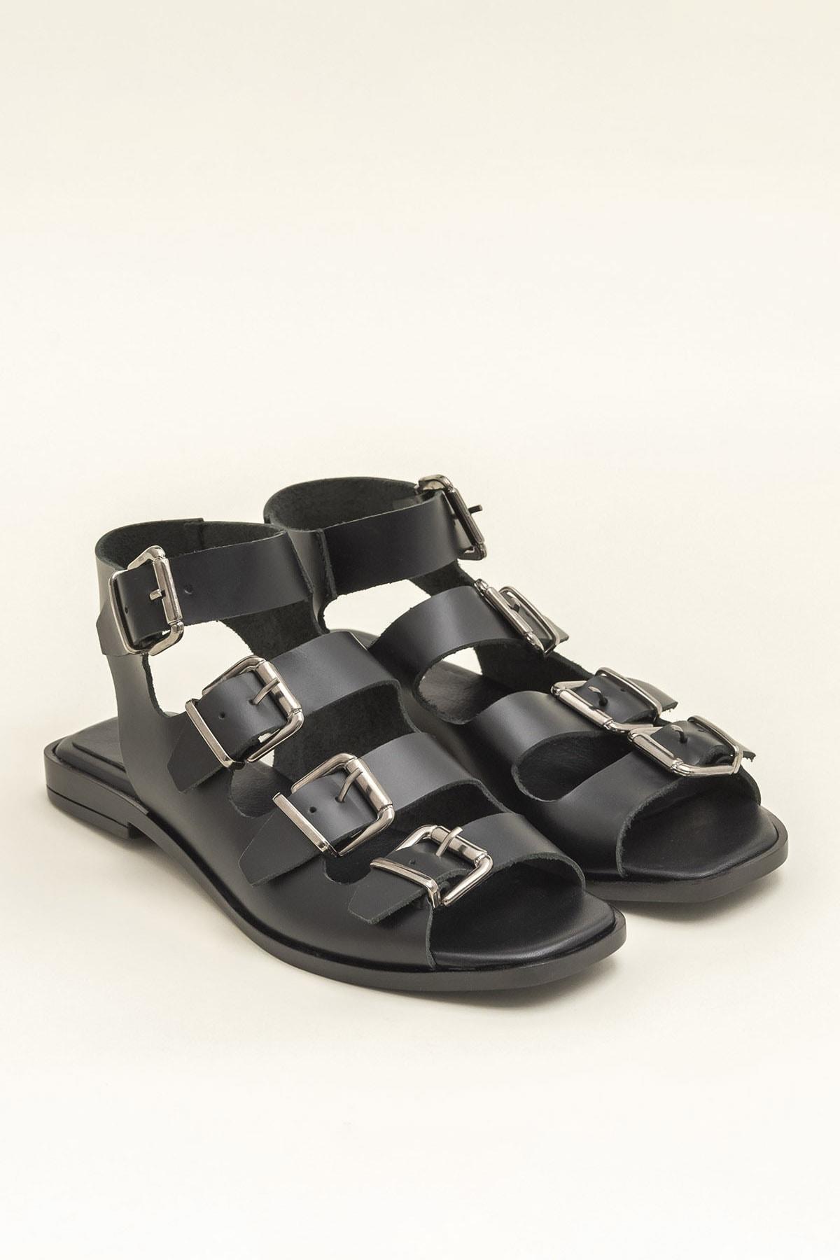 Elle Shoes Hakiki Deri Rahel Siyah Kadın  Sandalet 20YEK3143754 2