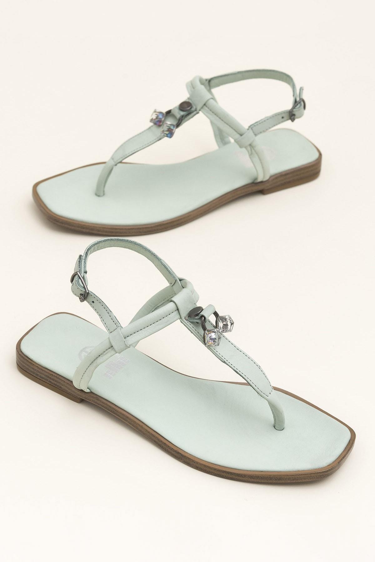 Elle Shoes Hakiki Deri Despına Yeşil Kadın  Sandalet 20YEK3143732 1