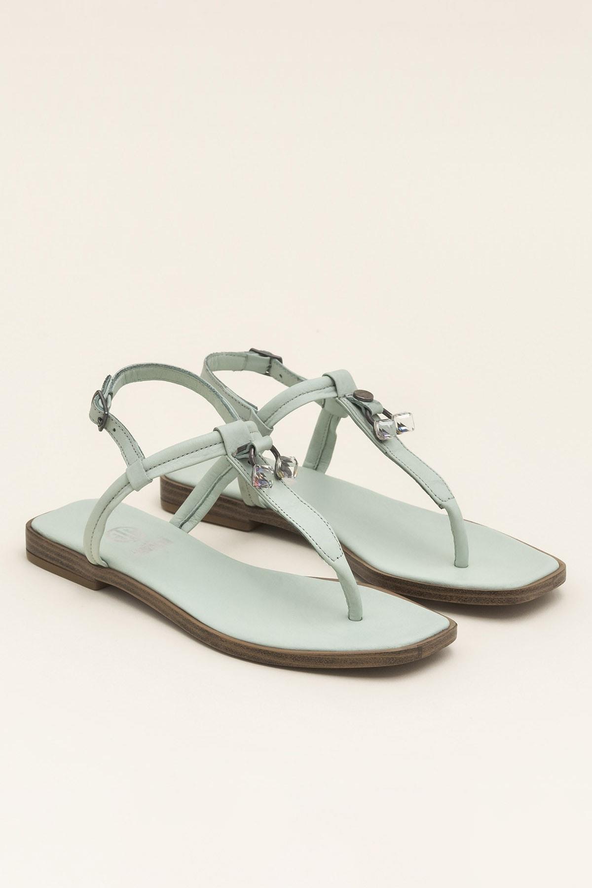Elle Shoes Hakiki Deri Despına Yeşil Kadın  Sandalet 20YEK3143732 2