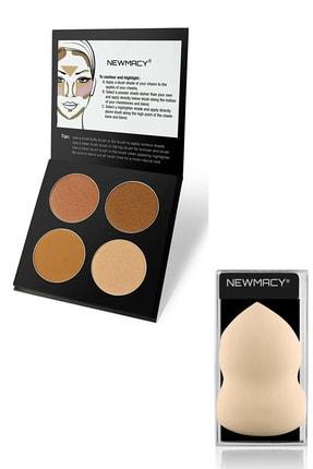 Newmacy 4'lü Aydınlatıcı&kontür Paleti - Highlighter&contour Pro 4 Colors Palette 01 + Latex Sünger Hediyeli