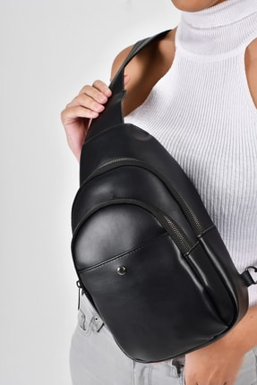 Bagzone Siyah Kadın  Trok Detaylı İki Bölmeli Bel Çantası 10RZ3006