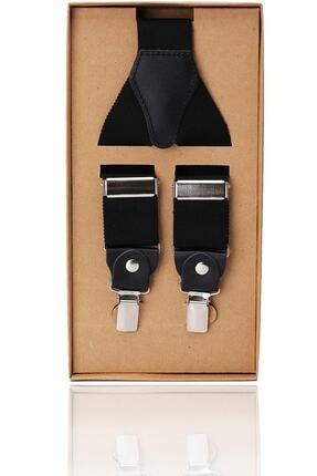 Kravatkolik Siyah Renk Deri Bağlantılı Erkek Pantolon Askısı Pan58