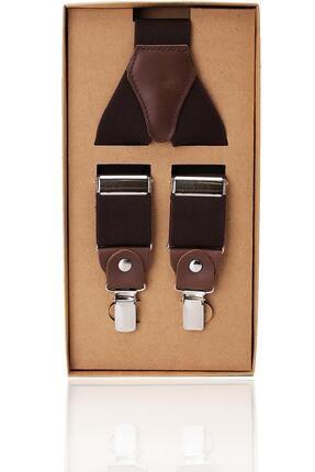 Kravatkolik Kahverengi Deri Bağlantılı Erkek Pantolon Askısı Pan54
