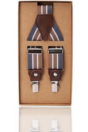 Kravatkolik Gri - Bej Renk Deri Bağlantılı Erkek Pantolon Askısı Pan37
