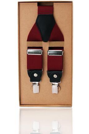 Kravatkolik Bordo Renk Deri Bağlantılı Erkek Pantolon Askısı Pan53