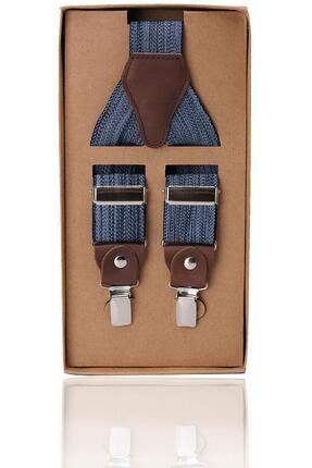 Kravatkolik Mavi Renk Deri Bağlantılı Erkek Pantolon Askısı Pan41