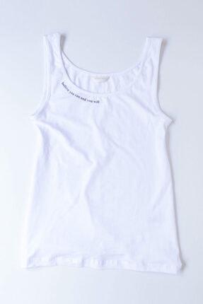 Katia&Bony Blue Collage Kadın T-shirt - Beyaz
