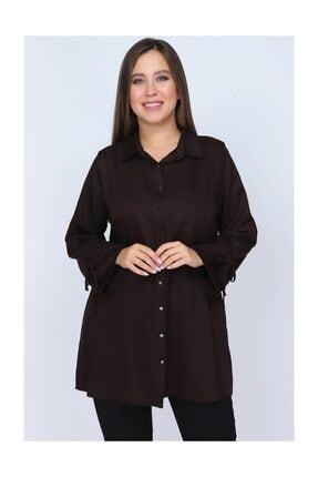 RMG Kadın Kahve Kolları Bağcık Detaylı Gömlek 6911