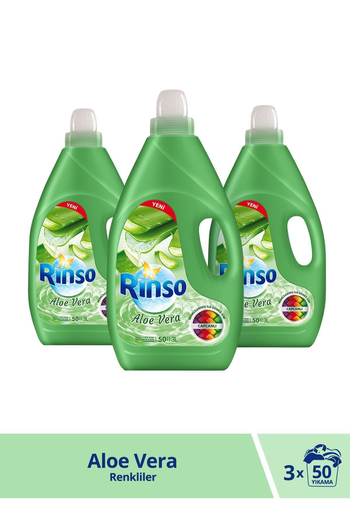 Rinso Aloe Vera Renkliler için Sıvı Çamaşır Deterjanı 3000 ML 50 Yıkama x 3 Adet