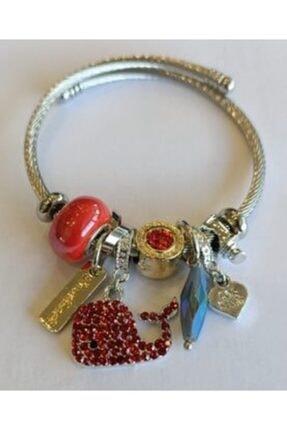 Pandora Balina Charmlı Gümüş Bileklik Kırmızı