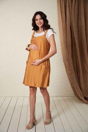 Görsin Hamile Kadın Düğme Detaylı Askılı Hardal Hamile Elbise
