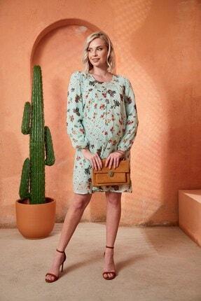 Görsin Hamile Gör&sin Çiçek Desenli Uzun Kol Hamile Şifon Mint Elbise