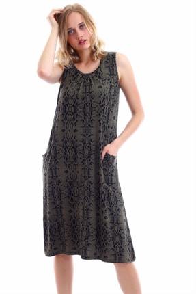 TRENDYSEPETİ Elbise 896 Yılan Deri Desenli Cepli Wear On Nhaki