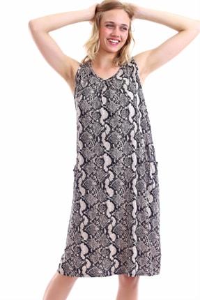 TRENDYSEPETİ Elbise 896 Yılan Deri Desenli Cepli Wear On Ntaş