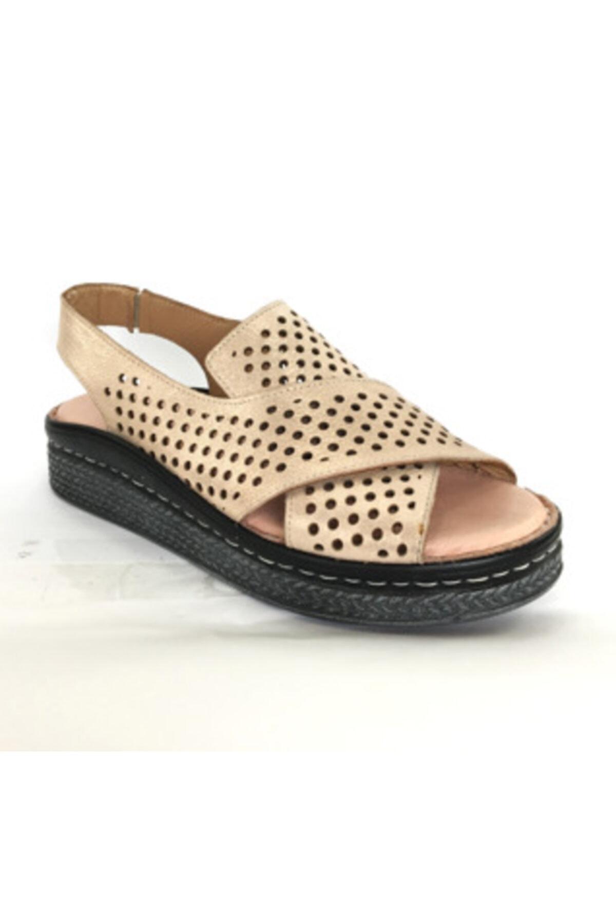 Maje Kadın Pudra Hakiki Deri Ortopedik Comfort Sandalet 1