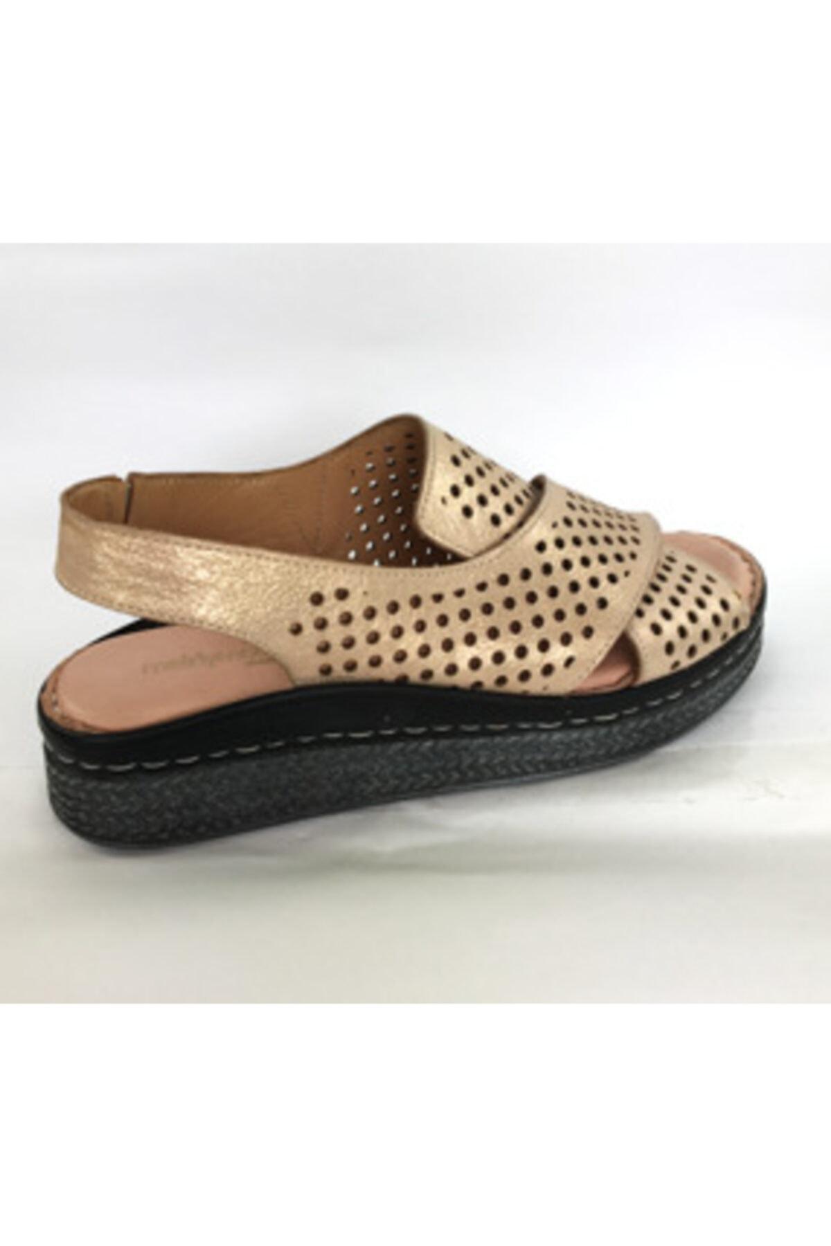 Maje Kadın Pudra Hakiki Deri Ortopedik Comfort Sandalet 2