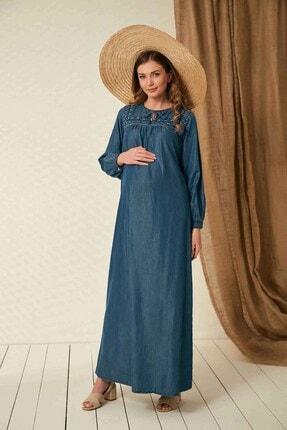 Görsin Hamile Gör&Sin Uzun Yaka Detaylı Hamile Kim Mavi Elbise