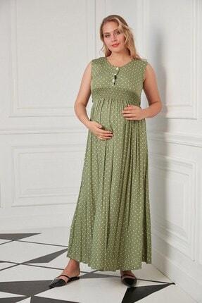 Görsin Hamile Puantiye Detaylı Hamile Yeşil Elbise