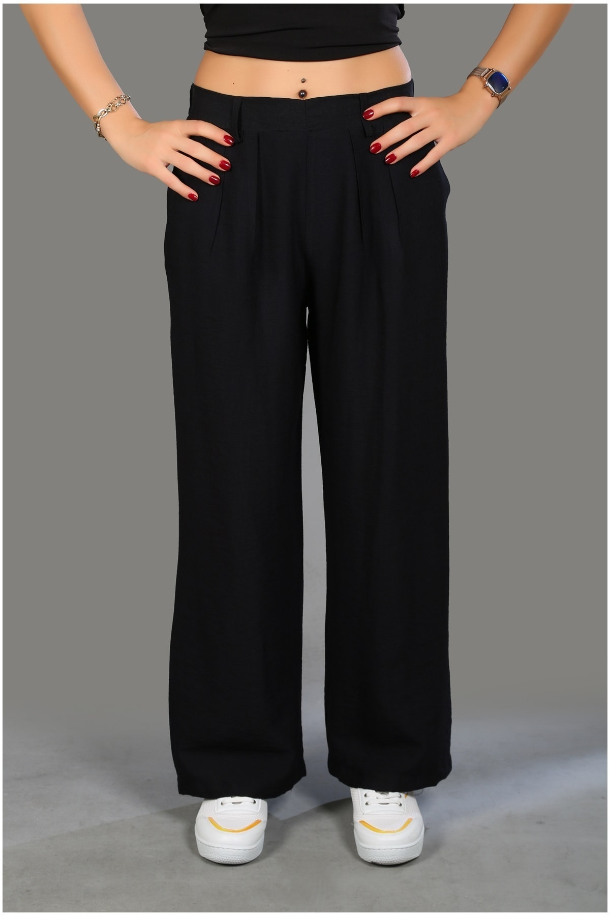 Modaceda Kadın Siyah Cepli Pantolon 1