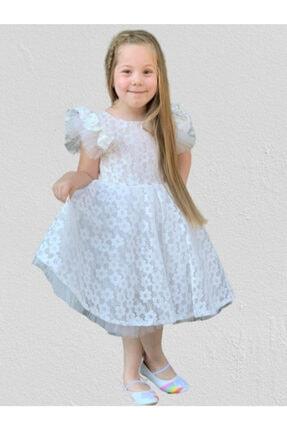 Mnk Kız Çocuk Beyaz Papatya Dantel Pamuk Astarlı Elbise