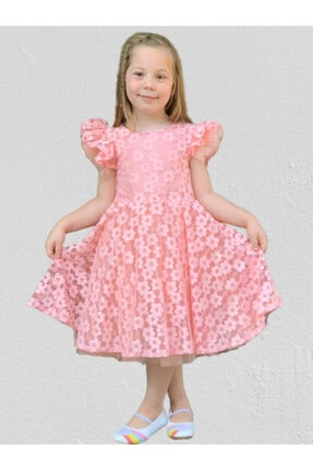Mnk Papatya Dantel Pamuk Astarlı Kız Çocuk Elbise