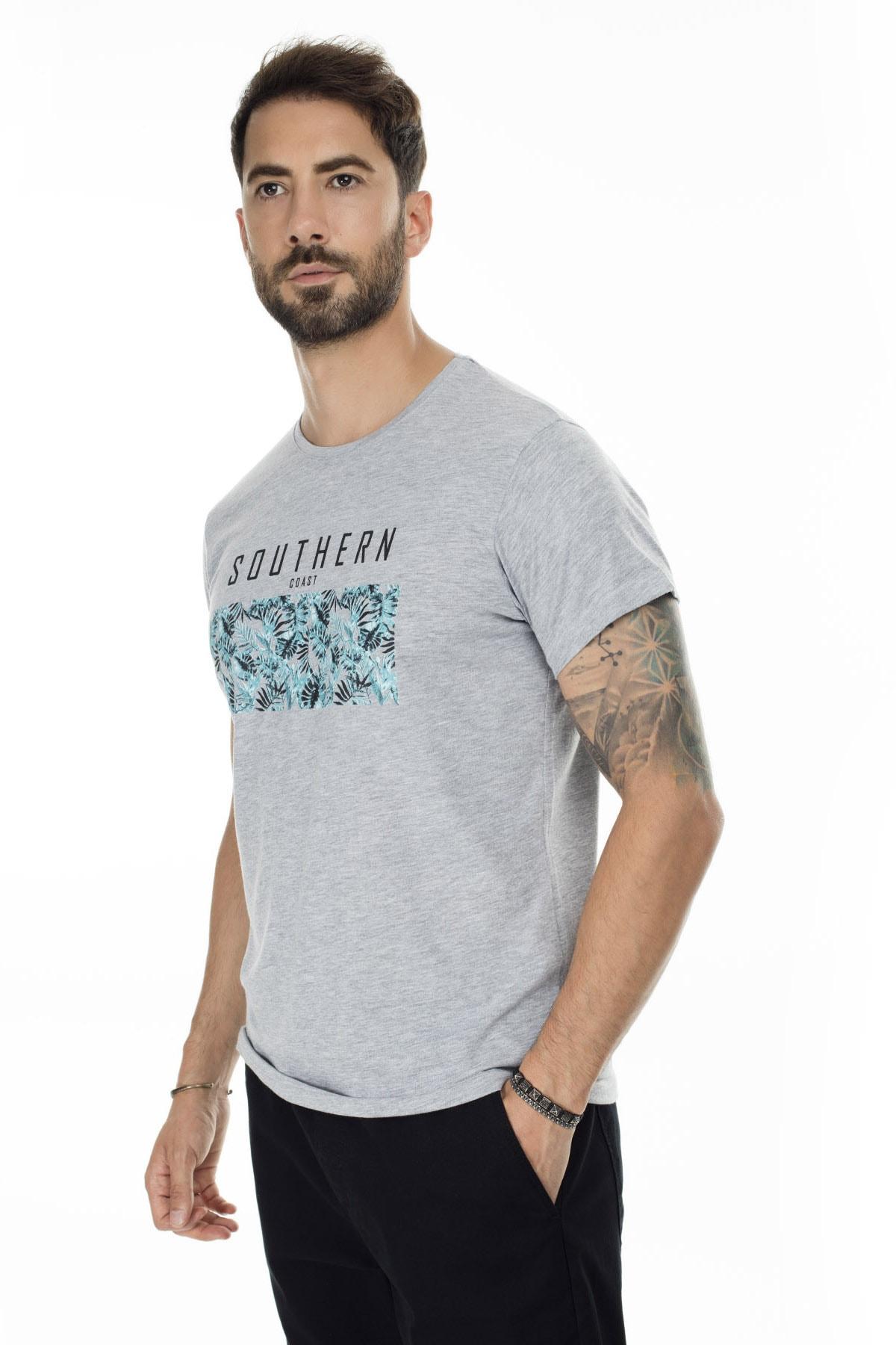 Buratti Erkek Gri Ön Beden Baskılı Bisiklet Yaka Pamuklu T Shirt 54102
