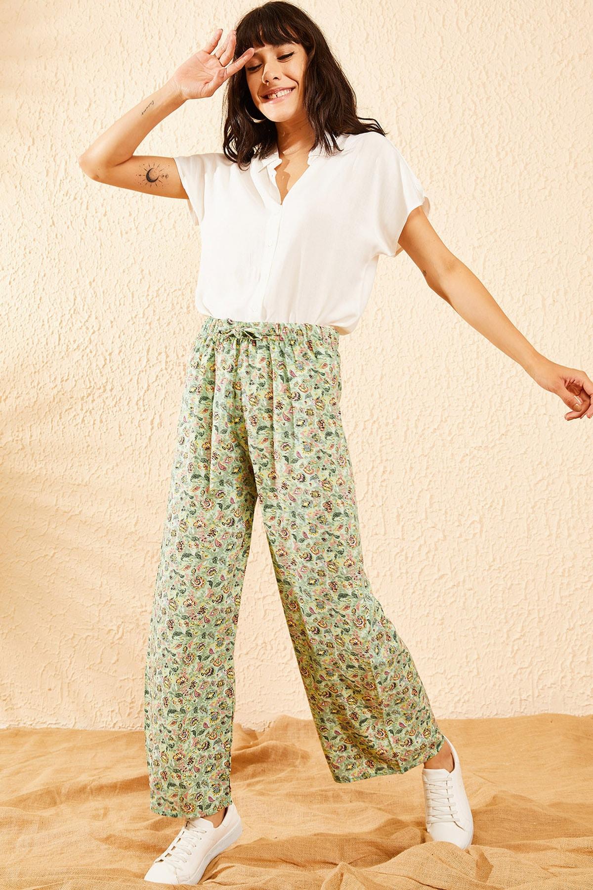 Bianco Lucci Kadın Mint Yeşili Çiçek Desenli Beli Lastikli Bol Paça Pantolon 10081051 2