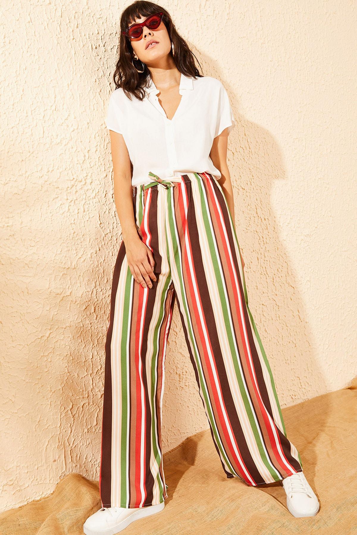 Bianco Lucci Kadın Multi Şerit Desenli Beli Lastikli Bol Paça Pantolon 10081047
