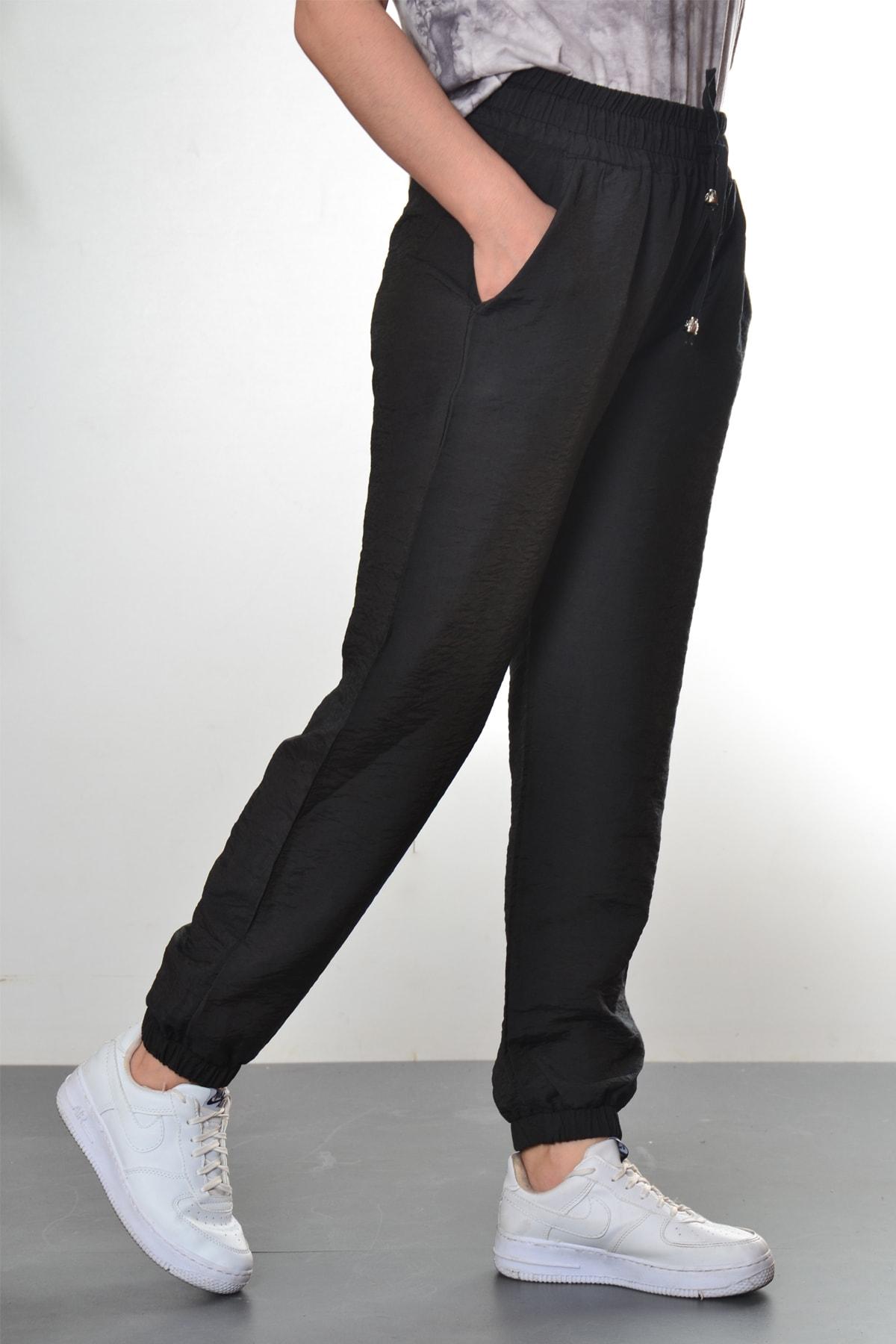 Modayns Kadın Siyah Manşet Ve Cep Detaylı Pantolon 2