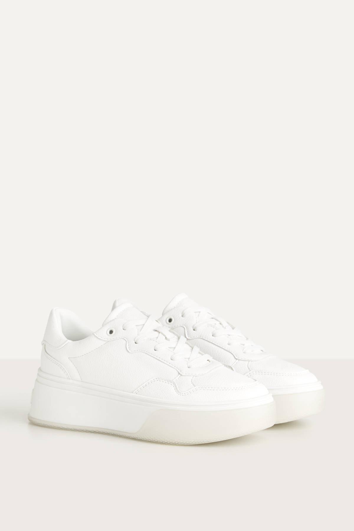 Bershka Kadın Beyaz Yarı Şeffaf Tabanlı, Platform Spor Ayakkabı 11409661
