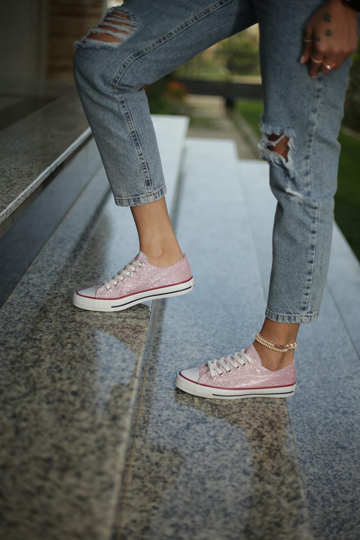 ESPARDİLE Pembe Simli Kadın Spor Ayakkabı 1