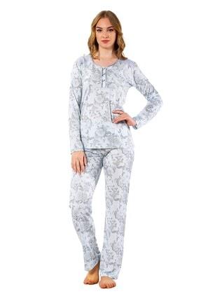 walkie Rosemary Ekru Gri Pijama Takımı