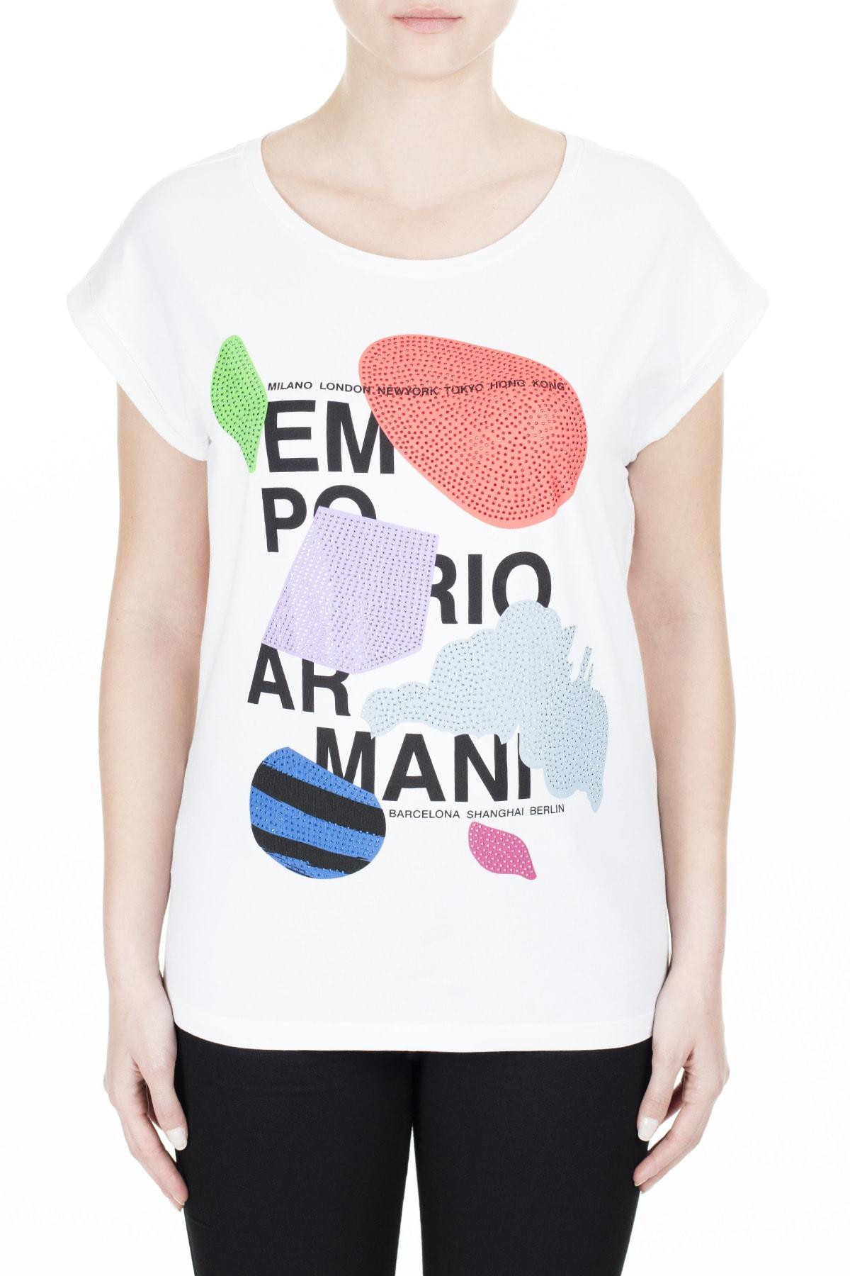 Emporio Armani Kadın Beyaz T-Shirt 3H2T6A 2Jqaz 0100