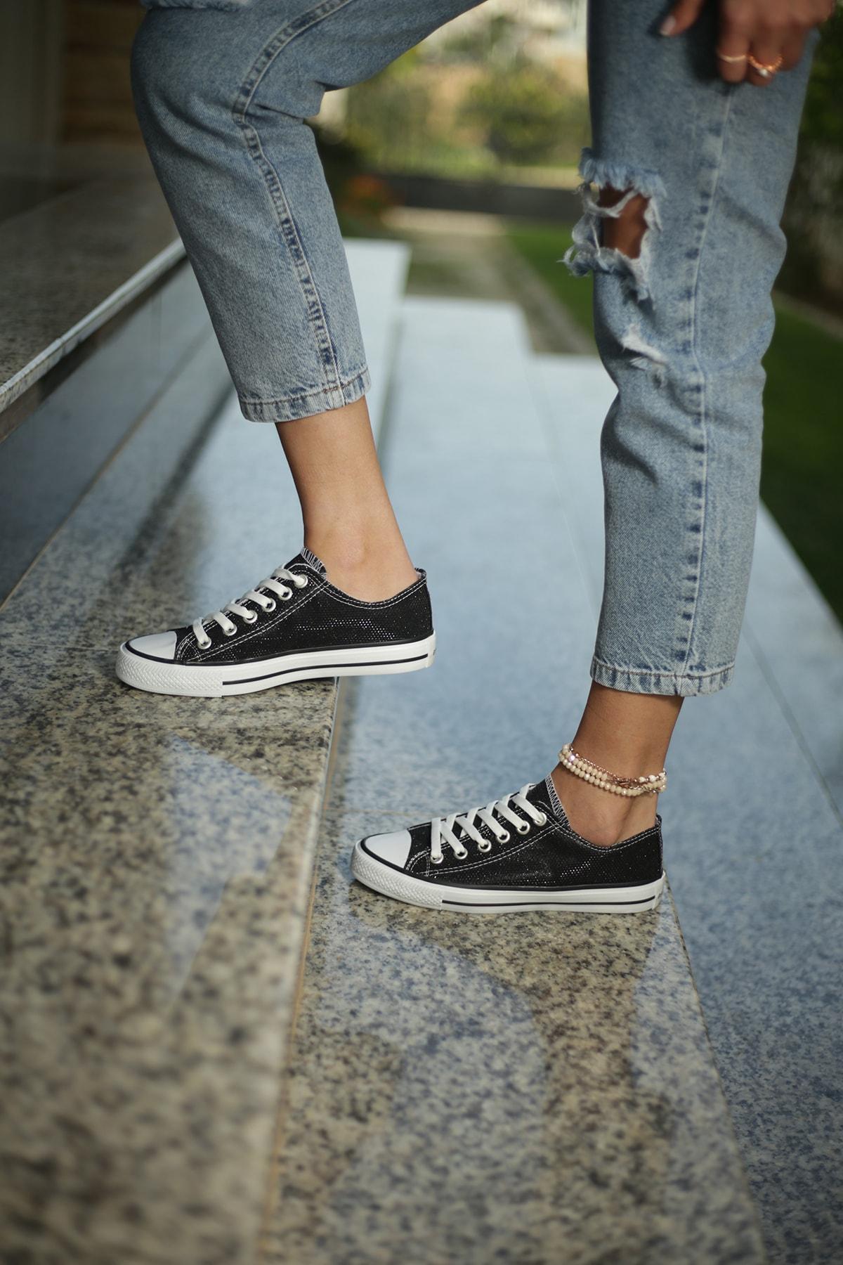 ESPARDİLE Kadın Spor Ayakkabı Siyah Simli 1