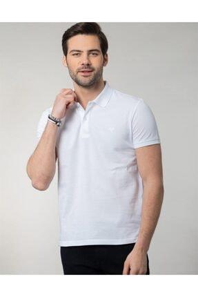 Tudors Erkek Beyaz Polo Yaka T-shirt