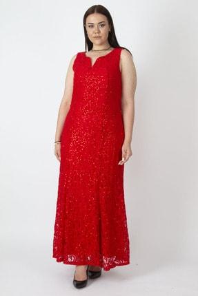 Şans Kadın Kırmızı Payet Detaylı Astarlı Dantel Elbise 65N16781