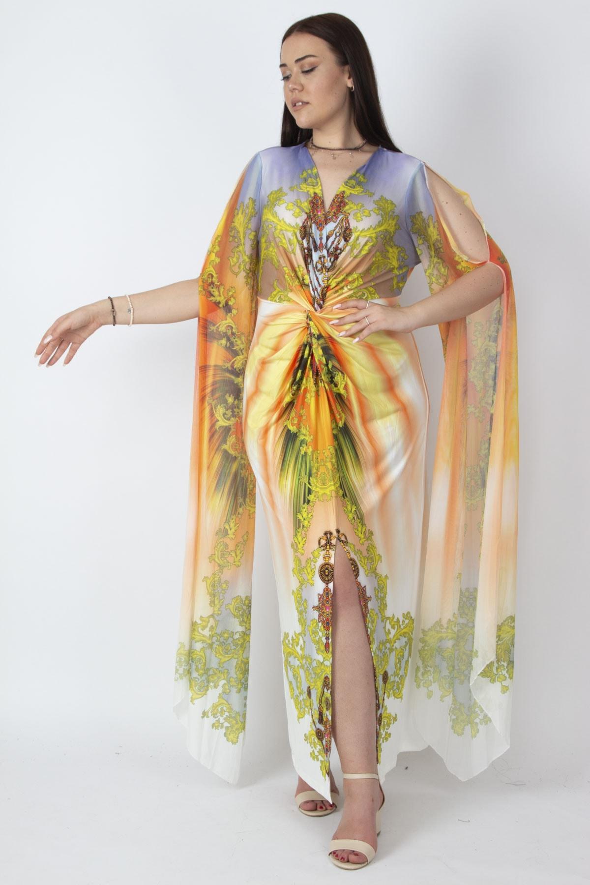 Şans Kadın Renkli Kolları Tül Detaylı Renkli Abiye Elbise 65N16788 1