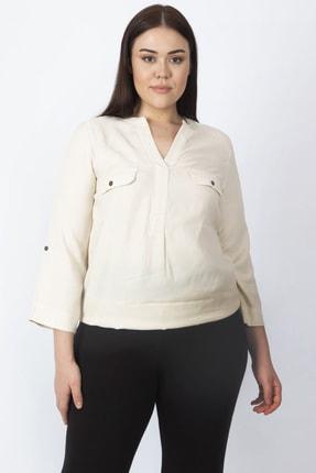 Şans Kadın Camel Hakim Yaka Kol Boyu Ayarlamalı Süs Cepli Bluz 65N16808