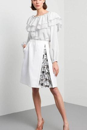 Machka Kadın Beyaz Payet İşlemeli Krep Etek MS1200004005002