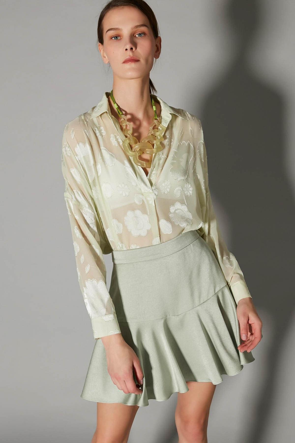 İpekyol Kadın Yeşil Over Size Transparan Gömlek IS1200025123011 1