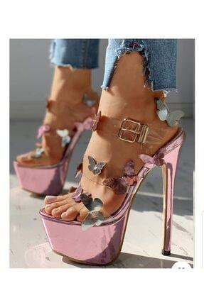 TANEM ÇELİK Kadın Pembe Ayna Kelebek Desenli Yüksek Topuklu Ayakkabı