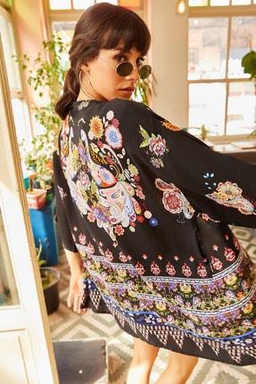 Olalook Kadın Siyah Eteği Sulu Kimono KMN-00000016