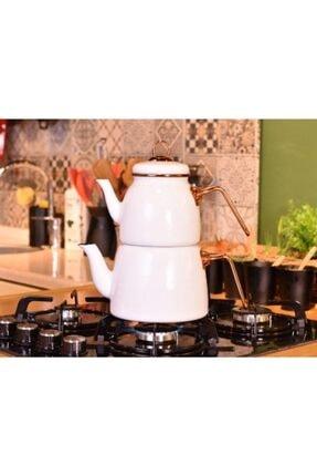 Taşev Emaye Çaydanlık Takımı Beyaz