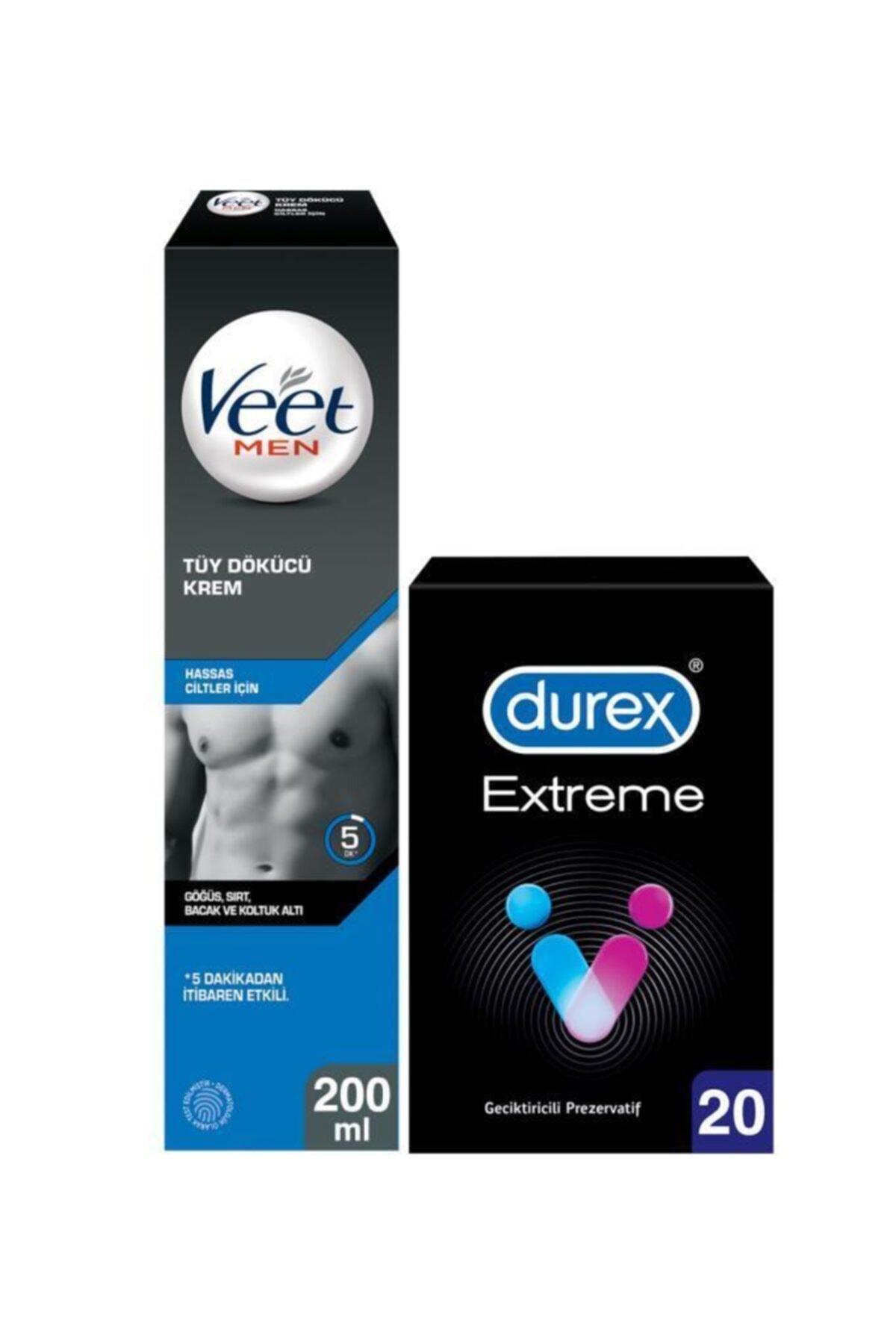 Veet Men Hassas Erkeklere Özel Tüy Dökücü Krem 200ml Durex Extreme Geciktiricili Prezervatif 20'li 1