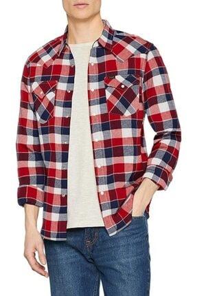 Lee Erkek Kırmızı Kareli Western Slım Fıt Gömlek