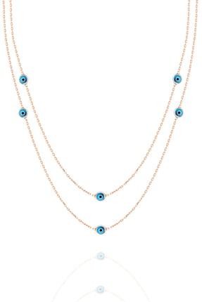 Trend Silver Gümüş Rose Mavi Mineli Kolye