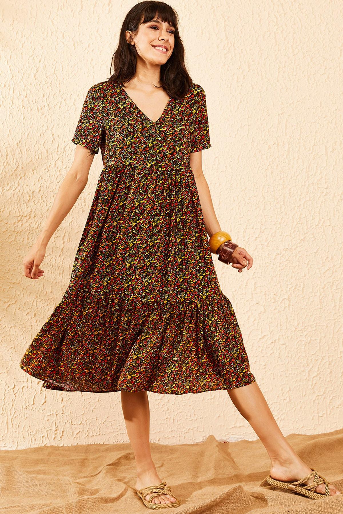 Bianco Lucci Kadın Multi Beli Lastikli V Yaka Eteği Fırfırlı Kloş Elbise 10091007