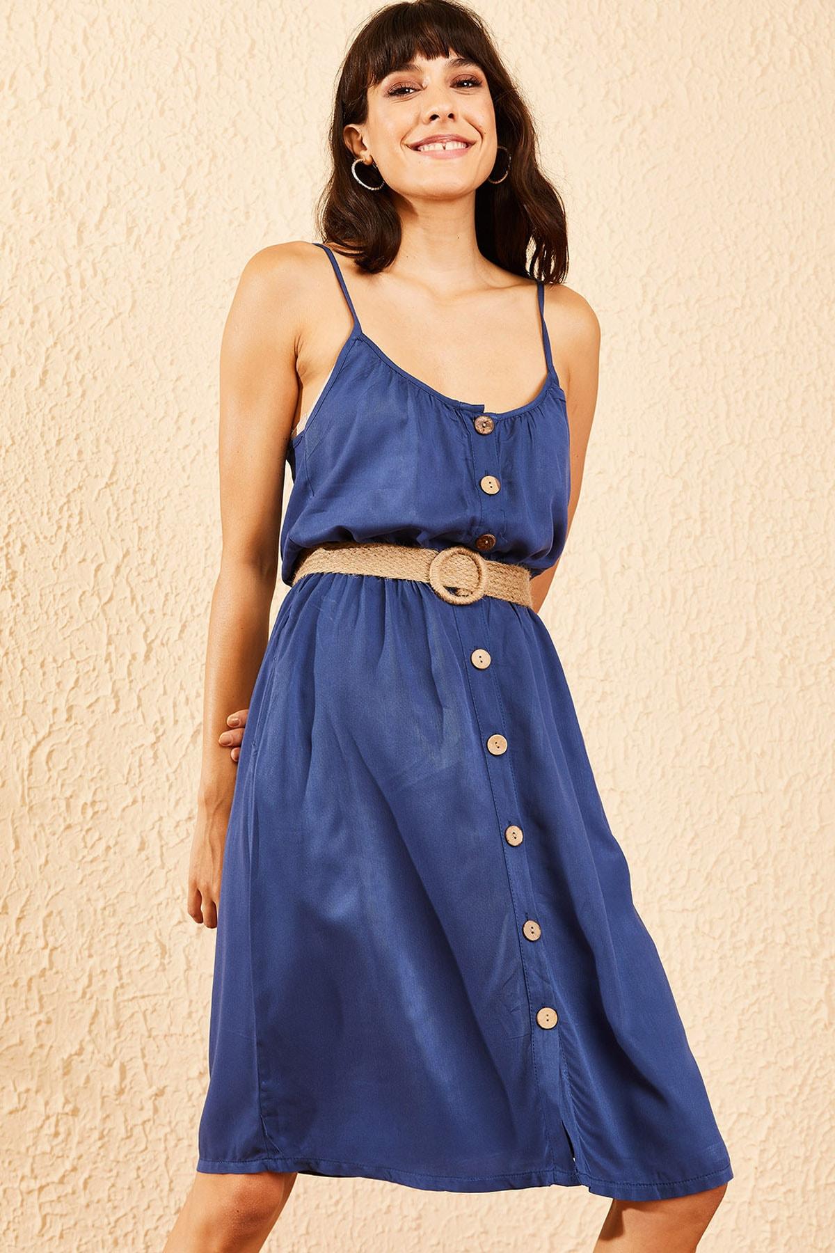 Bianco Lucci Kadın Mavi İp Askılı Beli Lastikli Düğmeli Midi Boy Elbise 10091045