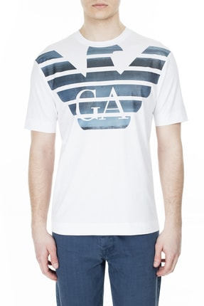 Emporio Armani Erkek Beyaz Pamuklu Tişört